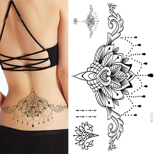 8069fff7fc204 1pc Chest Flash Tattoo 23models large black magical flower Sternum tattoos  body paint necklace Under breast