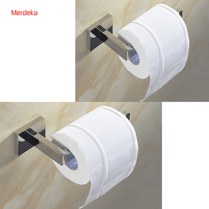 2PCS/ package  Bathroom Toilet Paper Holder Wall Mount Polished Stainless Steel Mirror Polish