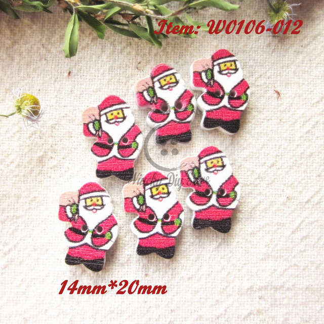 Christmas Series 144pcs Santa Claus Wood Buttons Christmas