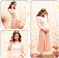 Pink three quarter sleeve o-neck long dress maternity dress pregnantcy lace pregnancy  photography props fancy clothes