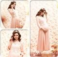 Rosa três manga trimestre o-pescoço pregnantcy vestido longo maternidade vestido de renda gravidez fotografia adereços roupas extravagantes