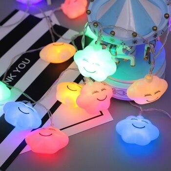 Светодиодная гирлянда, сказочные огни, Рождественская Новогодняя гирлянда, 10 м, 100 светодиодов, светильники в форме облака, украшение детско...