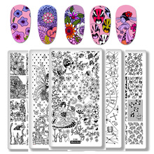 ФОТО 1pcs rectangle stamping template fairy tales constellation nail art image plate japanese geisha puppy manicure stencil tools
