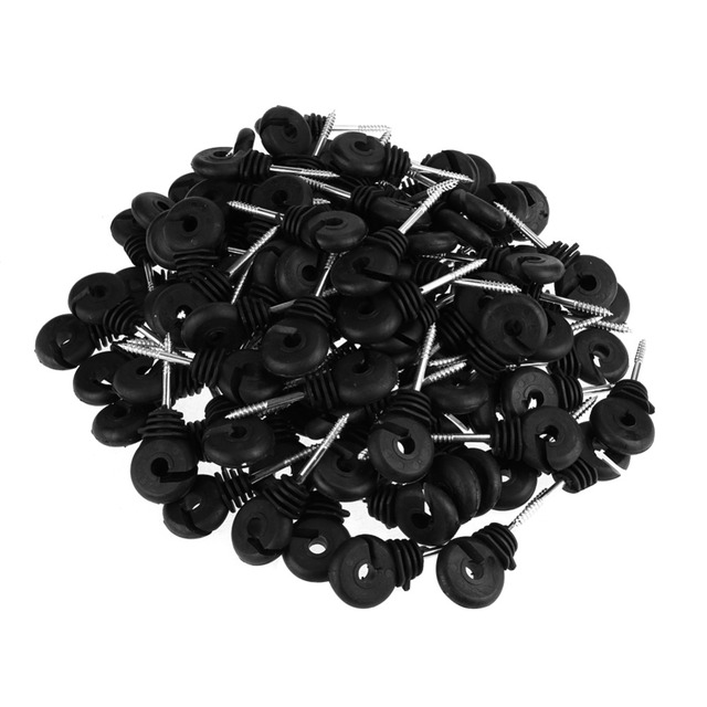 100pcs Short Screw In Ring Insulator For Wood Post Electric Fence Fencing Insulators Electric Meadow Fence Post Accessory