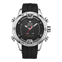 WEIDE Mens Sports Luxury Casual Business Analog Chronograph Alarm Auto Date Quartz Silicone Strap Band Military Clock Wristwatch hooktooth shark alarm auto date cool men clock black silicone strap band analog digital display chronograph quartz watch sh597