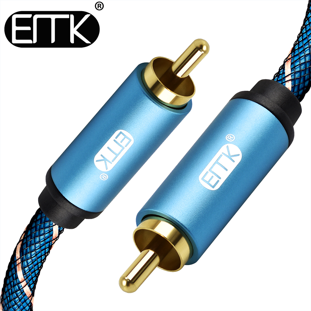 EMK RCA to RCA Male to Male Coaxial Cable Stereo Audio Cable Nylon Braided RCA Video Cable for TV Amplifier Home 1m 1.5m 2m 3m