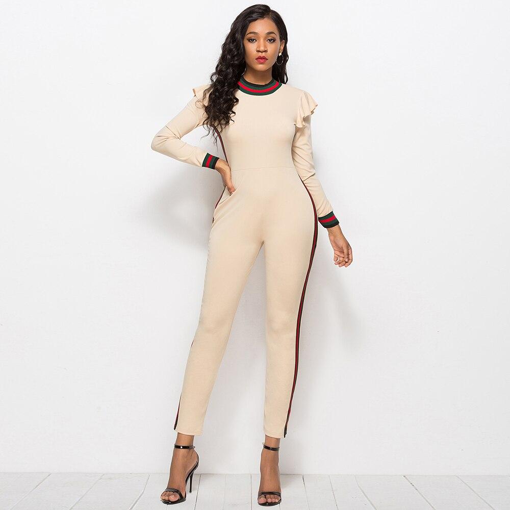 Dower Me Modest Long Sleeve Womens Office Lady Work Wear O Neck Ruffled Skinny Autumn/Winter Elegant Khaki/Black Jumpsuits 2018