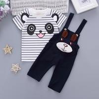 Babykleding Sets Kids Peuter Jongens Meisjes Lange Mouwen Panda gestreepte T-shirt + Overalls Zuigeling Kind Kleding Outfits Sets 1-4Y