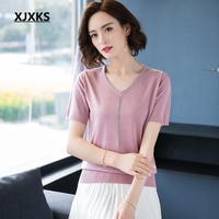 XJXKS Knitted T shirt High Quality Tee Shirt Femme Ulzzang Knitted short sleeve T Shirt Women Summer Top