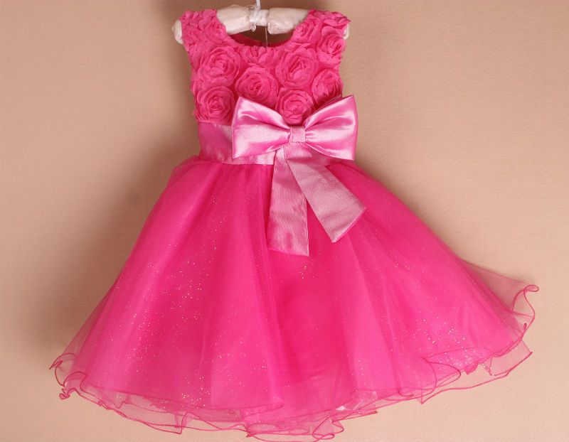 Vintage Flower Girls Dresses Children Party Ceremonies Clothing Princess Baby Girl Wedding Dress Birthday Big Bow Christening 2015 new girls dress princess dress children party wear veil big bow flower girl wedding dress white rose baby girls