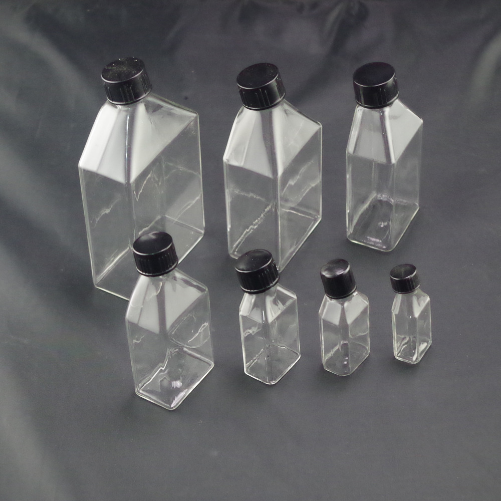 10ml 15ml 25ml 50ml 100ml 150ml 200ml 250ml 500ml Cell Tissue Glass Culture Flask With Bevel Screw Cap Angled Neck
