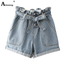2019 New Womens Casual Jeans Shorts Summer Straight Shorts Mini Denim Short Ladies Button Lace-up Cuffs Vintage Plus Size S-3XL loose fit thin straight leg lace up men s floral shorts