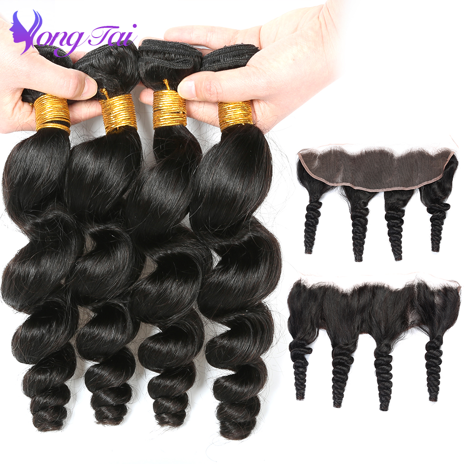 YuYongTai Raw Indian Loose Wave hair Bundles with Closure Non Remy Hair Extension Loose Wave Lace
