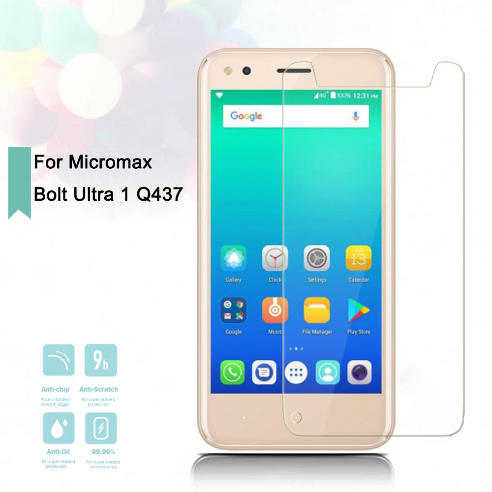 2.5D 0.26mm Ultra Thin Tempered Glass Micromax Bolt Ultra 1 Q437 Toughened Protector Protective Screen Case Cover Universal