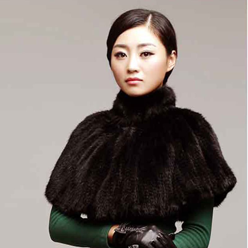 Autumn 100 real mink fur woven scarf women s knitted shawl mink scarf shawl cloak fashion