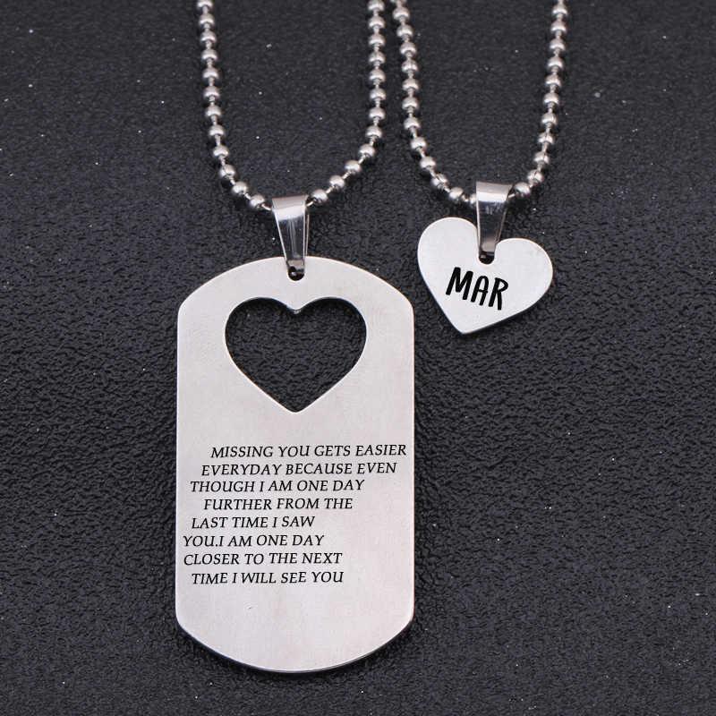 Militar Tag Coração Colares Nome Personalizado Amantes Casais Presentes Namorada Namorado Presente do Dia Dos Namorados Colar de Jóias