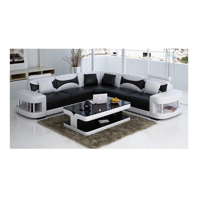Wholesale living room furniture cheap leather corner sofa set 7 seater sectional sofa with Led light 2