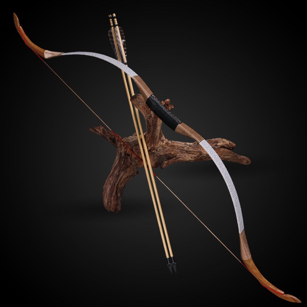 Toparchery 25/30/35/40/45/50 Lbs Traditional Recurve Long Bow Horsebow Handmade Laminated Wooden Ourdoor Sports Hunting Shooting