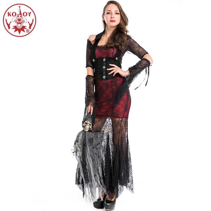 2019 Women Costume Vampire Cosplay <font><b>Halloween</b></font> Ghost Spider Dress <font><b>Sexy</b></font> <font><b>Queen</b></font> Mesh Dresses Role-playing dance performance image