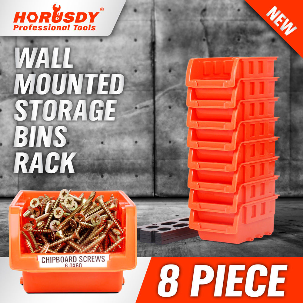 HORUSDY 8pcs Wall Mounted Parts Toolbox Storage Tool Parts Garage Unit Shelving Organiser Hardware Repair Tool Boxes Storage Set