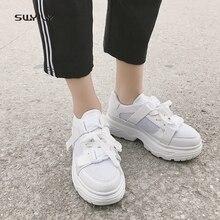 SWYIVY شبكة حذاء كاجوال المرأة أحذية رياضية 2019 جديد أحذية نسائية بيضاء تنفس السيدات حذاء منخفض قطع منصة أحذية رياضية النساء