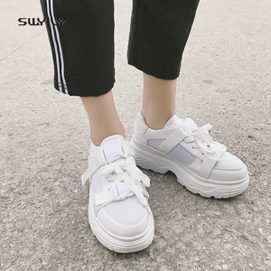 Image 1 - SWYIVY Mesh Casual Shoes Women Sneakers 2019 New Female Shoes White Breathable Ladies Shoe Low Cut Platform Sneakers Women