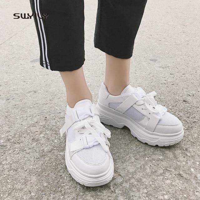 Swyivy Mesh Casual Schoenen Vrouwen Sneakers 2019 Nieuwe Vrouwelijke Schoenen Wit Ademend Dames Schoen Low Cut Platform Sneakers Vrouwen
