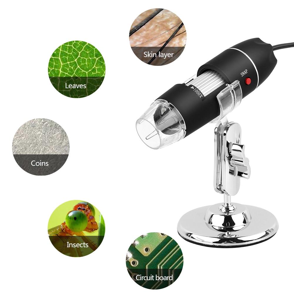1000X8 LED Mega píxeles Microscopio Digital endoscopio USB Cámara Microscopio Lupa Electrónica estéreo con montaje