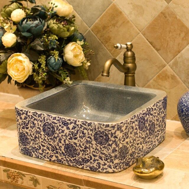 Square Counter Top Porcelain Wash Basin Bathroom Sinks Ceramic