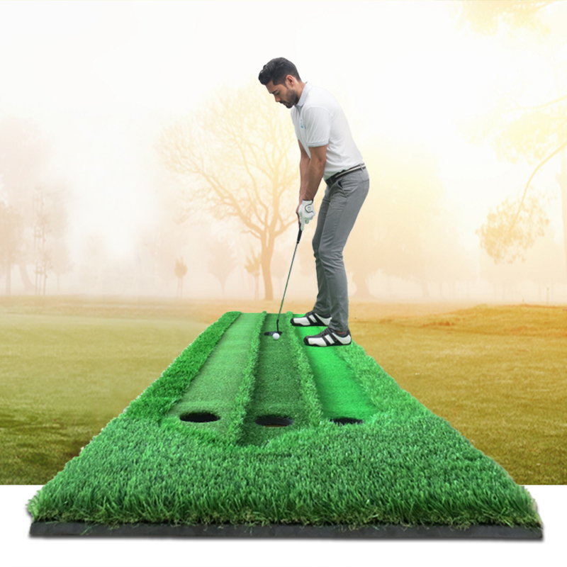 2018 New Golf putting training aids green putter swing training mat scale practice device 3 holes in the green free shipping golf putting mat mini golf putting trainer with automatic ball return indoor artificial grass carpet