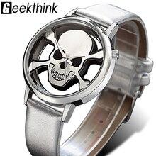 Clock Quartz-Watch Skull GEEKTHINK Ladies Band Silver Girls Female Designer Top-Brand