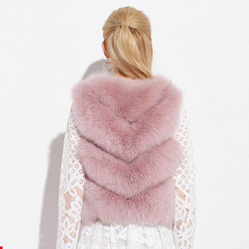 Manteau 2018 Veste Manteaux Cha Gilet Coréenne Gilets Se Automne Vintage Nai Mujer Color Renard D'hiver De Chaqueta Réel caramel Fourrure pink Rose Femmes My1055 Vêtements 4Xvx8ZZ
