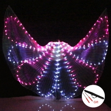 Colorful Belly Dance Performance Costume LED Wings Accessories Girls Butterfly With Stick