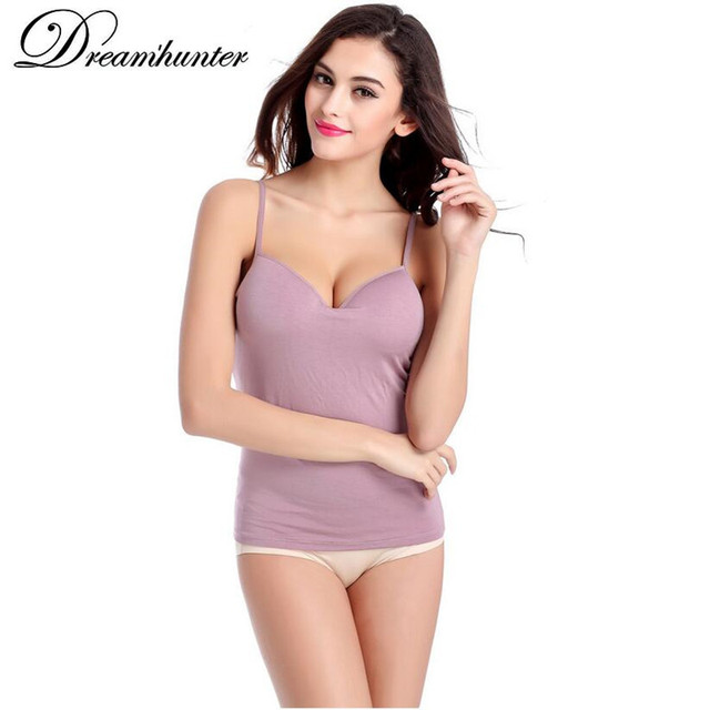3d0d7d4dcc8a5 Summer New Women Sexy V neck Modal Adjustable Strap Built In Bra Padded Self  Mold Bra