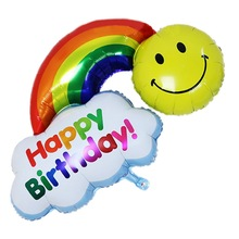 1pcs Double Face Have A Nince Day Happy Birthday Inflatable Balloons Rainbow Foil Balloon Smail Face