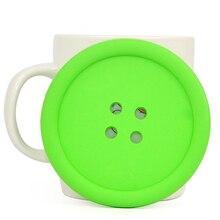 TFBC-Big Button Silicone Coaster Fun Novelty Design Kitsch Retro Drinks Placemat – Green