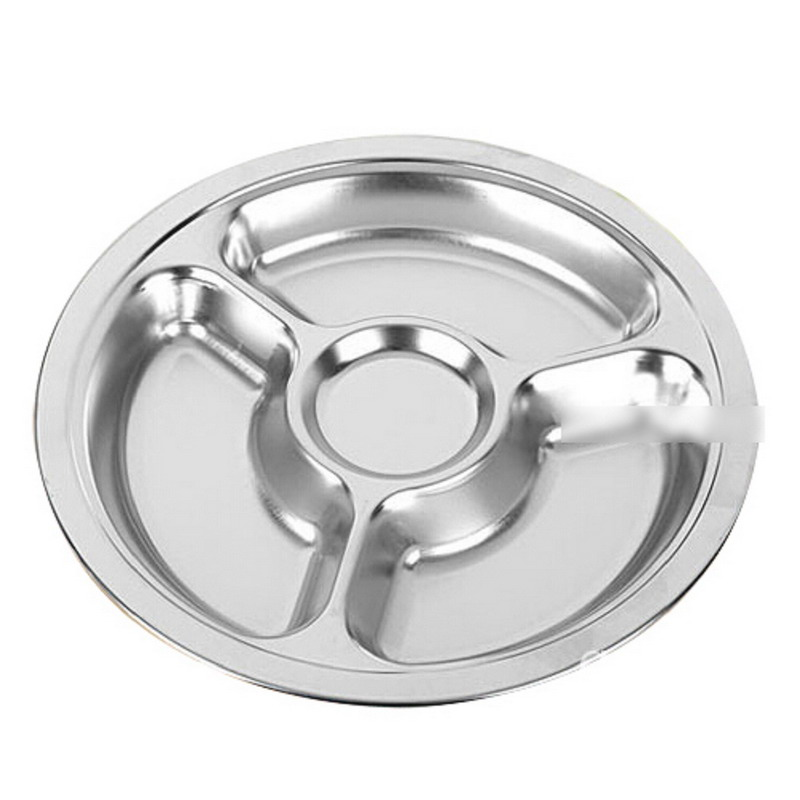 1pcs Stainless Steel Students Grid Dinner Round Divided Plate Plate 4 Sections-in Dishes \u0026 Plates from Home \u0026 Garden on Aliexpress.com | Alibaba Group  sc 1 st  AliExpress.com & 1pcs Stainless Steel Students Grid Dinner Round Divided Plate Plate ...