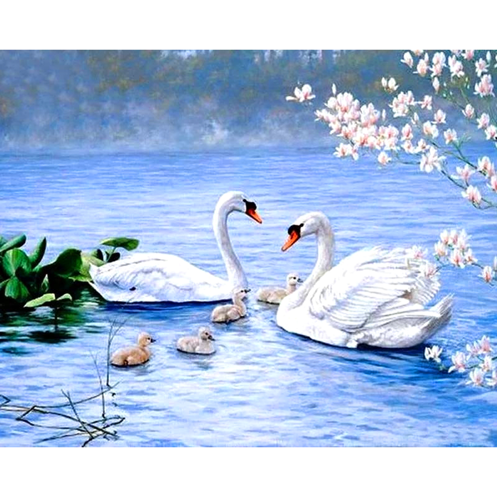 Diamond Painting Full Square Drill 5D Swans Lake Daimond Painting Embroidery Cross Stitch Mosaic Rhinestone LE01028