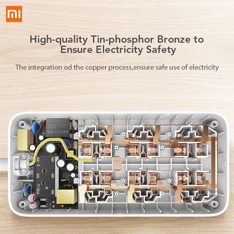 Image 5 - Oryginalna listwa zasilająca Xiaomi Mijia wersja podstawowa 6 gniazd z 3 5V 2.1A szybkie ładowanie portów USB biały Mi gniazdo jednolity kolorWtyczka z gniazdemElektronika użytkowa -