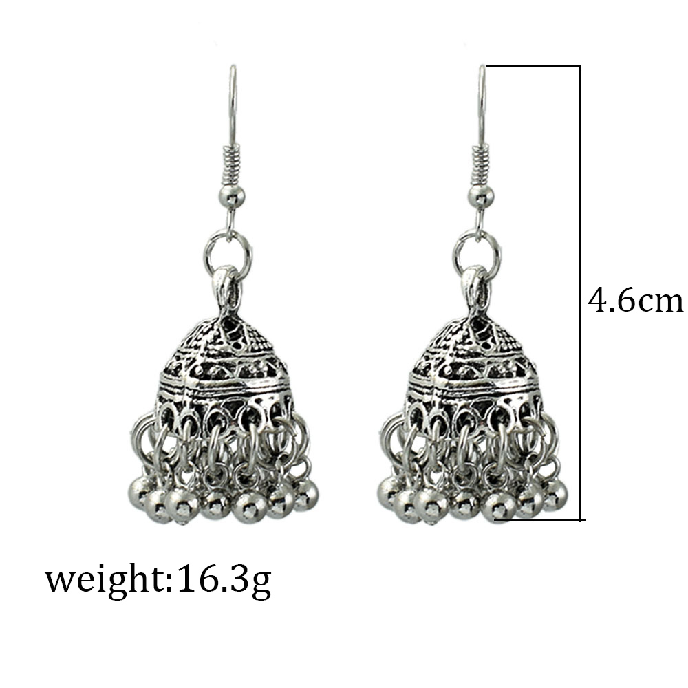 Bing Tu Bohemia Jewelry Retro Bell Beaded Tassel Earrings Tibetan Silver Round Hanging Pendant Earring Indian Earing Jhumka Furniture