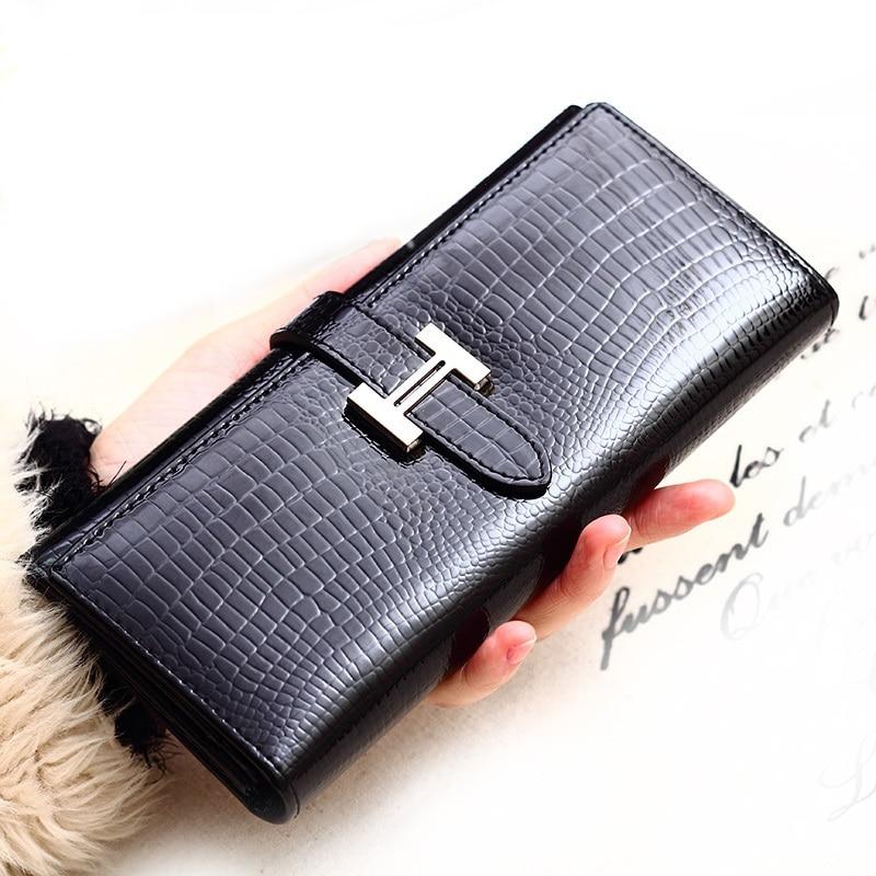 ФОТО 100% Genuine Leather Wallets Women Fashion Wallet  High Quality Female Long Purse Ladies Clutch Wallet