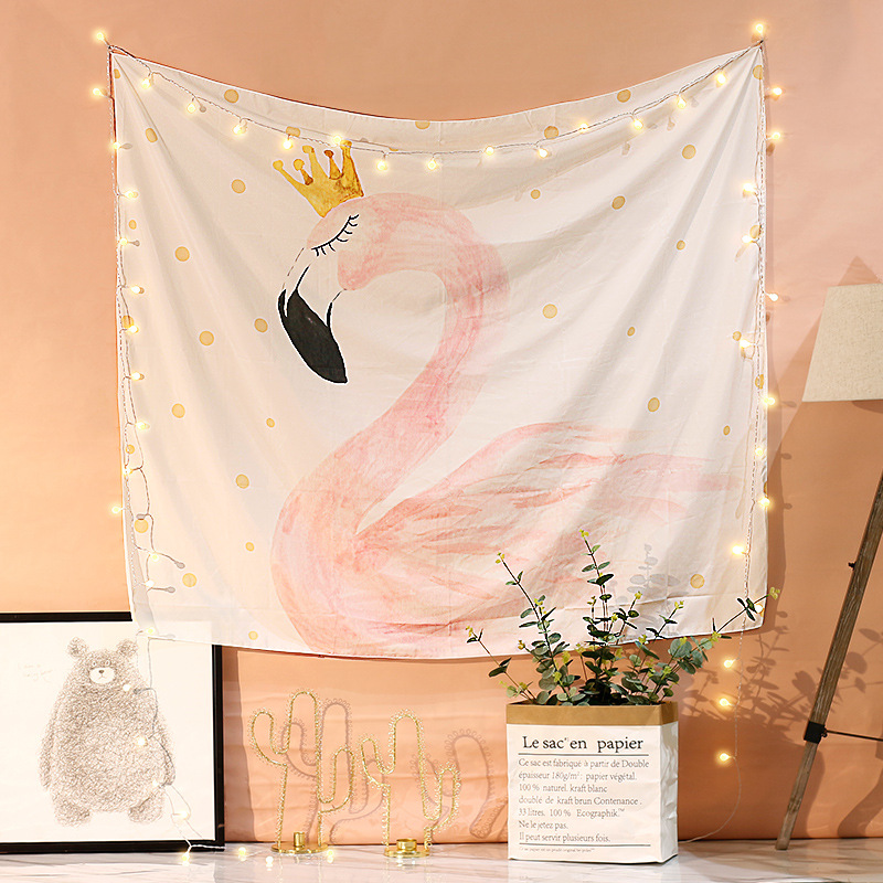 Flamingo Wall Photo Background Booth Cactus Hanging Art Cloth for Wedding Birthday Party Kid Room Decoration Beach Table Mat B in Party DIY Decorations from Home Garden