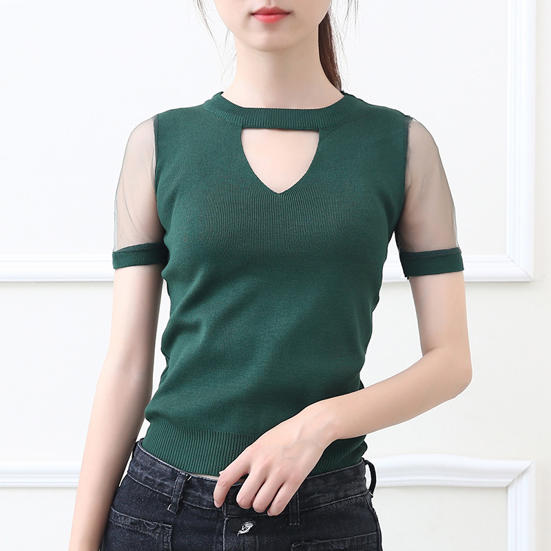 EIJOQAN 2018 New V-Neck Short sleeve Yarn splicing sexy Sweater summer Thin section Slim shirt fashion Casual Blouse <font><b>1833</b></font> image