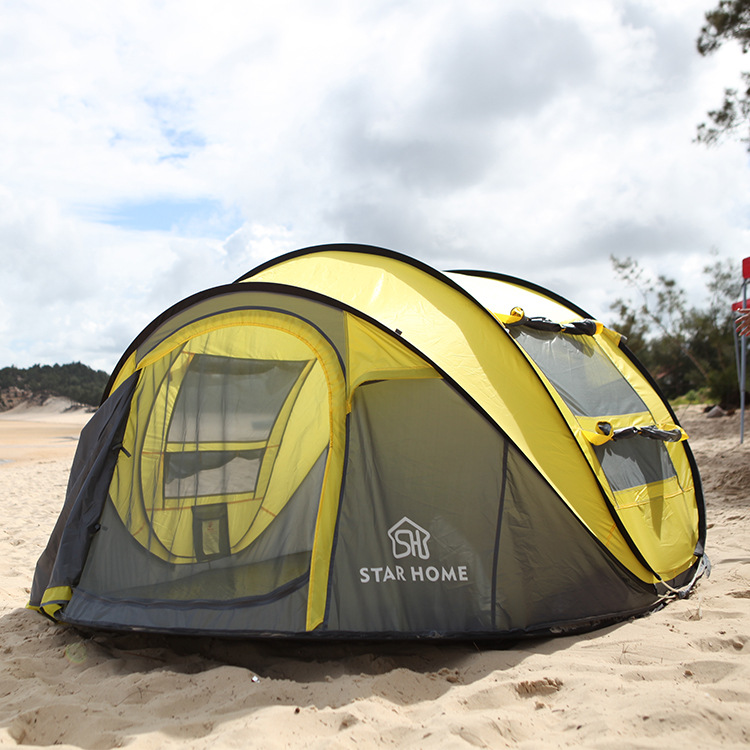 STARHOME Camping Tent 4 Person Quick  Opening Beach Tent Pop Up Sun Shade Camping Tent ennjoi fully automatic sun shade tent quick open pop up camping tent beach awning fishing tent outdoor camping hiking beach tent
