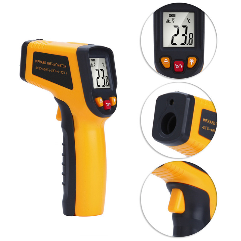 Digital Laser Infrared Thermometer - 50 - 600 Degree Temperature Measuring Instrument LCD Pyrometer Temperature Gun