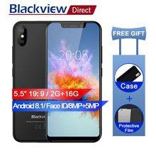 2018 Blackview A30 5,5 «19:9 смартфон Face ID Android 8,1 Orea 4 ядра 2 ГБ 16 ГБ 8MP двойной сзади камера на 2500 мАч мобильный телефон 3G