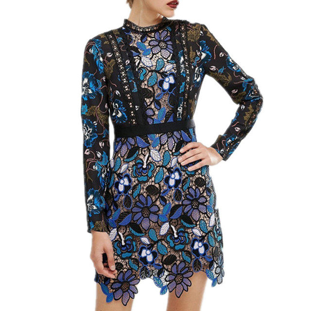 SMTHMA HIGH QUALITY 2017 spring new arrive  long sleeve Lace dress S/M/L