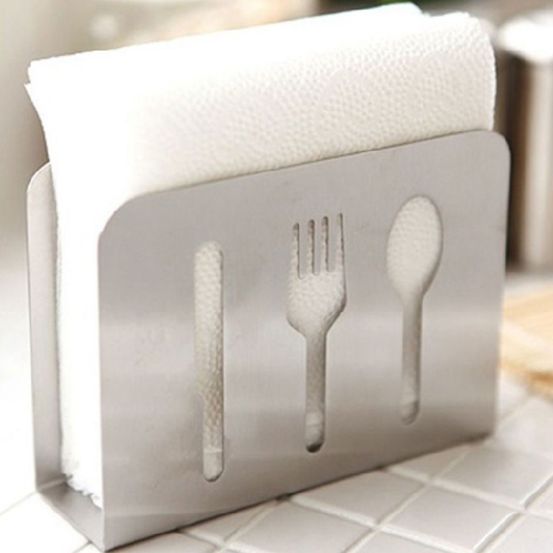 Stainless Steel Napkin Rack Box Tissue Holder Cutlery Floral Hollow Out Design