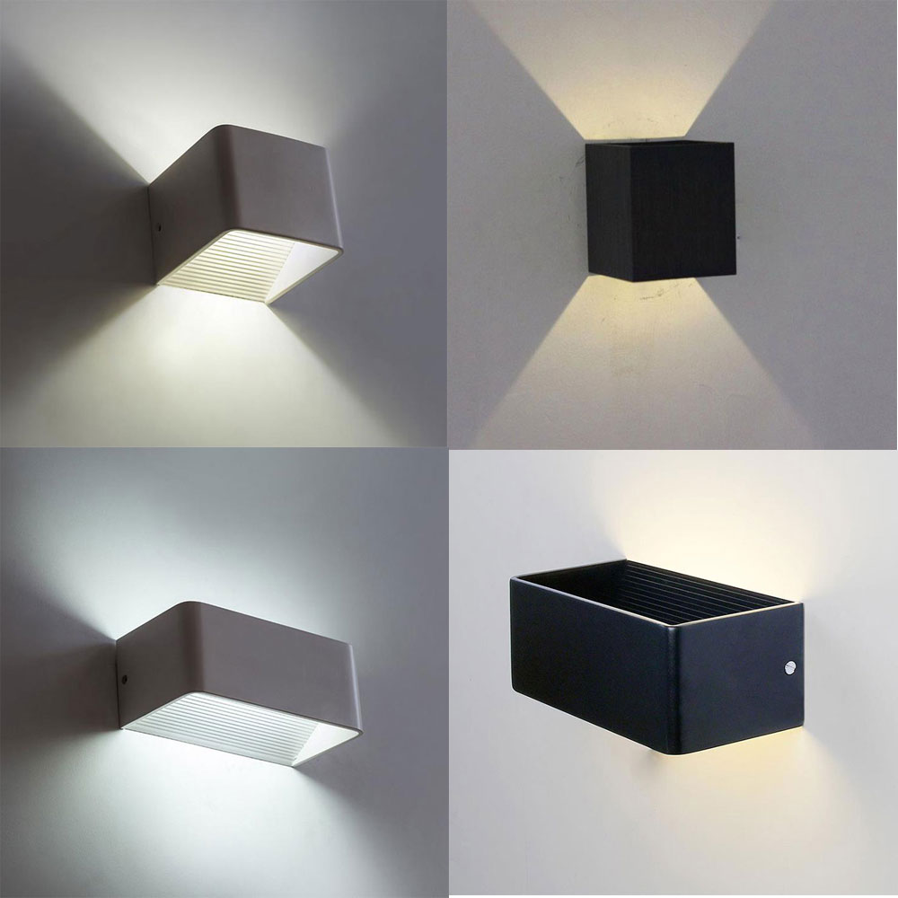 2017 new led wall light modern square led bedroom bedside reading light loft rectangle black. Black Bedroom Furniture Sets. Home Design Ideas