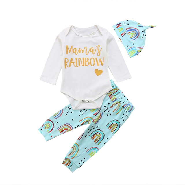 2ab3d16e80 Emmababy 2019 Rainbow Toddler Newborn Baby Girl Boy Romper Long Pants Hats Outfit  Cotton Clothes 0